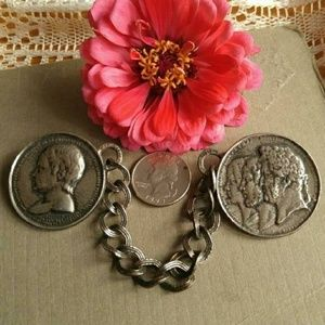Vintage big Ancient coins brooch linked pins chate